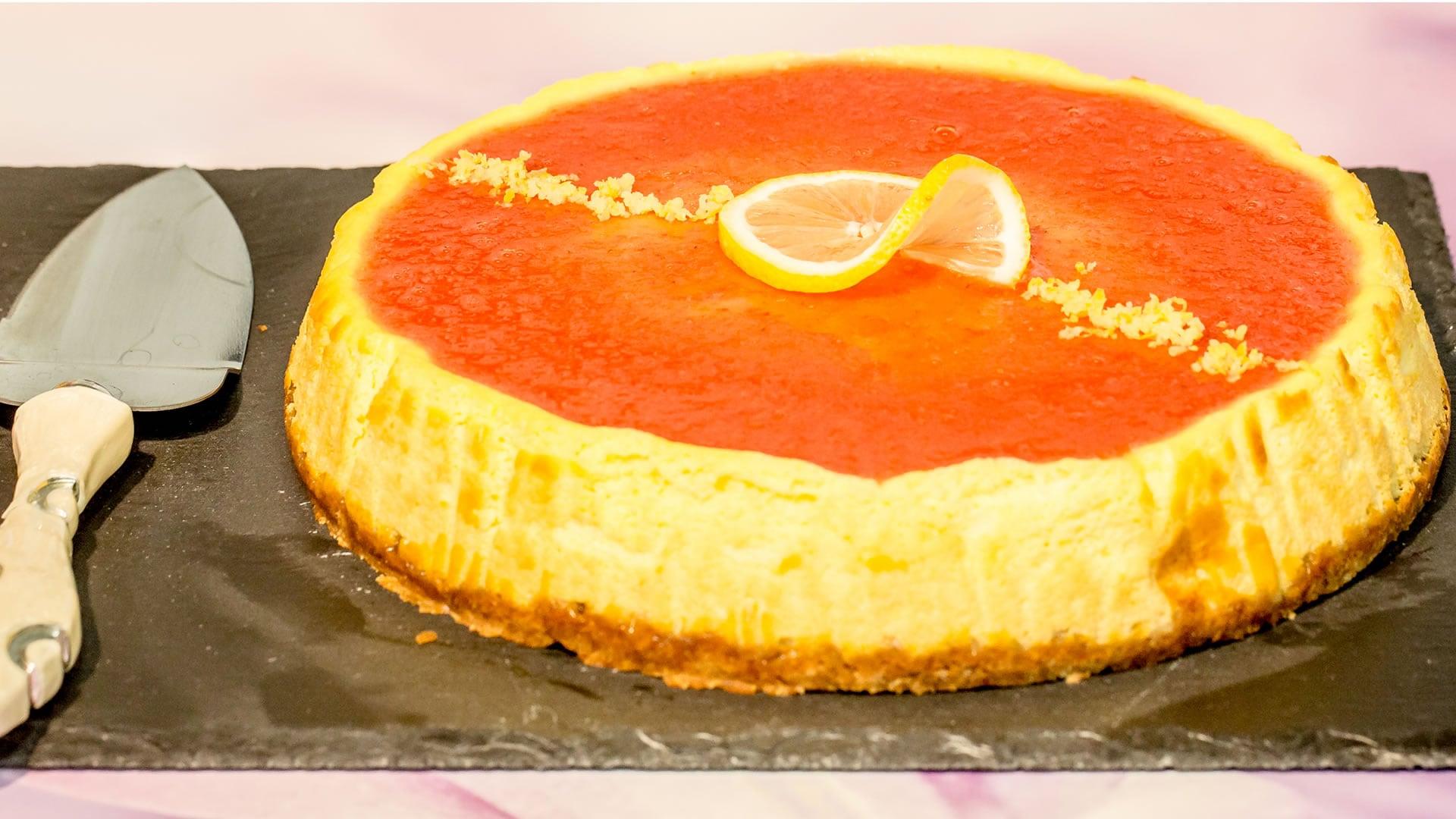 cheesecake al forno a basso contenuto di grassi